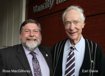 A photo of Dr. Earl Davie with CBR founding director Dr. Ross MacGillivray
