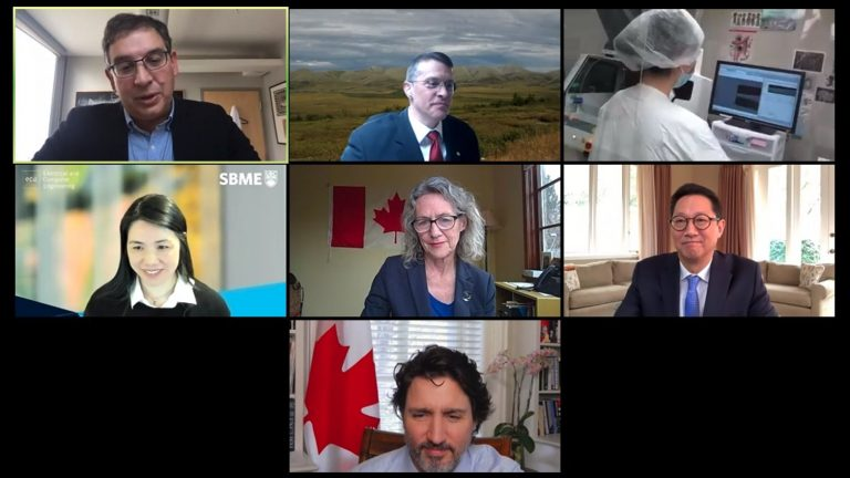 Screenshot of Dr. Karen Cheung on a remote video conference call with other UBC researchers, UBC President and Vice-Chancellor, Santa Ono, Prime Minister Justin Trudeau, and Digital Government Minister Joyce Murray.
