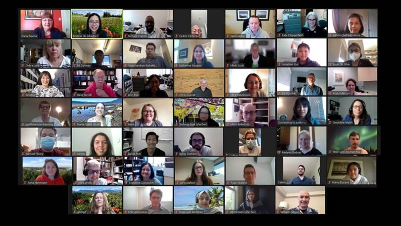 A group photo screenshot of some attendees and speakers at the 10th Annual Norman Bethune Symposium, who joined virtually from around the world to share in the event's activities.