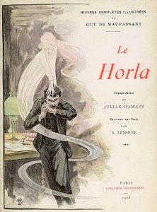 """The 1908 cover of Guy de Maupassant's fantasy story, Le Horla, which is about a man who loses his sanity as an """"invisible Being"""" takes over his mind."""