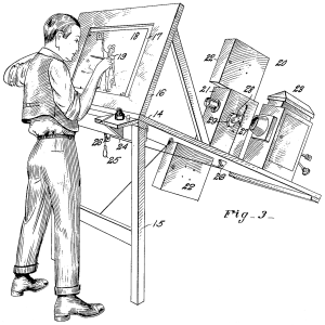 A patent drawing of an original rotoscope, which were used to make early animations by tracing over live-action footage frame by frame.