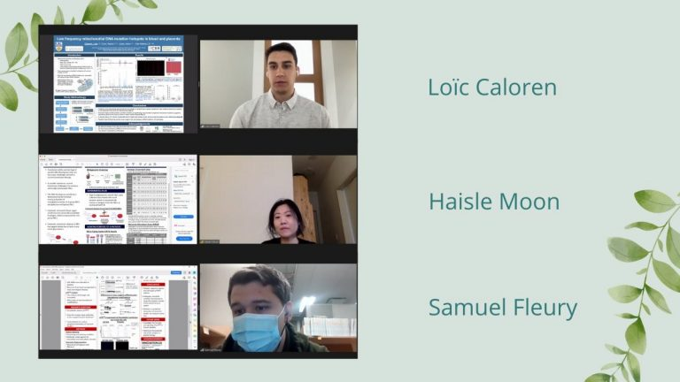 Screenshot of the winners of the poster presentation for the Norman Bethune Symposium 2021, with stylized background. Pictured are: The first-place winner of the virtual poster session, Loïc Caloren from UBC, as well as the second-place winners, Haisle Moon from UBC and Samuel Fleury from Université de Montréal.