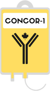 CONCOR-1 logo, which has the text CONCOR-1 over an illustration of a bag of convalescent plasma